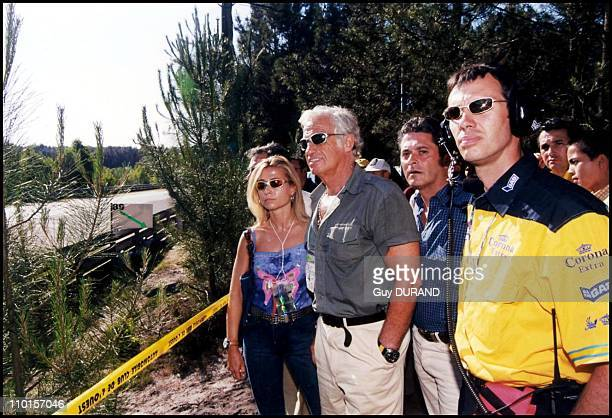 The Belmondo family at the '24 heures du Mans' racing tournament in Le Mans France on June 17 2000 JeanPaul Belmondo Natty Paul Belmondo