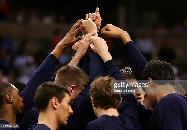 The Belmont Bruins huddle before the start of their round one of the NCAA Men's Basketball Tournament game against the Georgetown Hoyas at Lawrence...