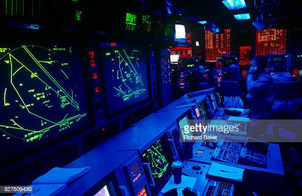 The belowdeck highly classified Conflict Direction Center or War Room on the aircraft carrier US Navy USS Harry S Truman This top secret office is...