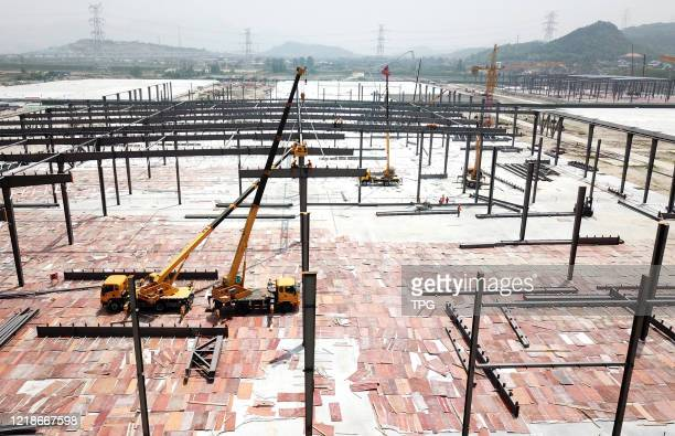 The Belt and Road Initiative supply chain base is in construction on 08th June, 2020 in Lianyungang,Jiangsu,China.