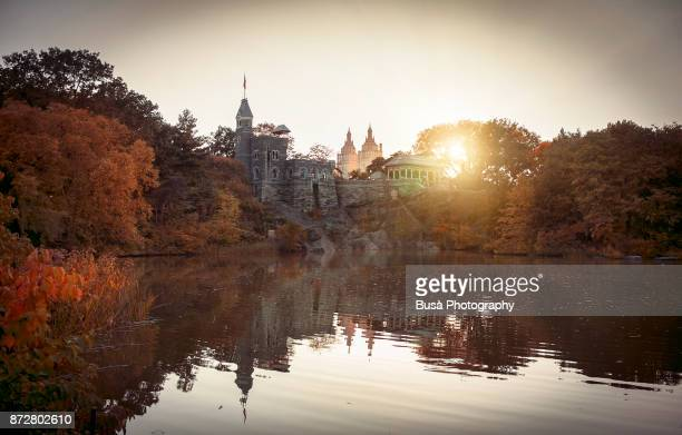 """The Belvedere Castle in Central Park, overseeing the so-called """"Turtle Pond"""". New York City"""