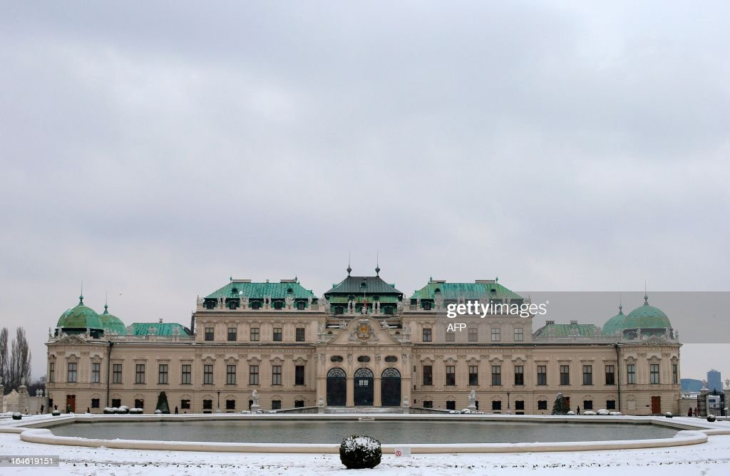 The Belvedere Palace is seen on a snowy day in Vienna on March 25, 2013.