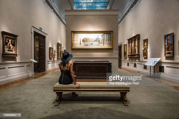 The bench in front of Fra Carnevale's, The Ideal City, at the Walters Art Museum. Arts section story on the best benches on which to sit and enjoy...