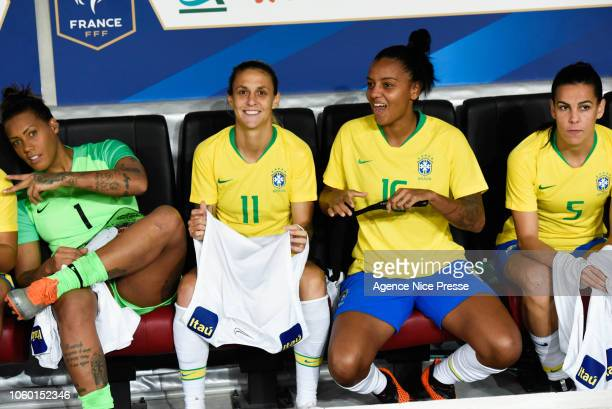 The bench of Brazil with Barbara Barbosa Darlene Reguera Geyse Ferreira and Thaisa Moreno during the International Women match between France and...