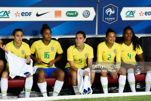 The bench of Brazil with Darlene Reguera, Geyse Ferreira, Thaisa Moreno, Poliana Medeiros and Daiane Silva during the International Women match...