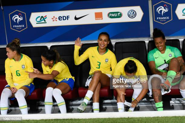The bench of Brazil with Tamires Britto Debora Oliveira Kathelien Feitoza and Barbara Barbosa during the International Women match between France and...