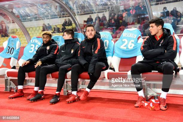 Moussa Sylla Julien Serrano Stevan Jovetic and Pietro Pellegri during the Ligue 1 match between AS Monaco and Lyon at Stade Louis II on February 4...