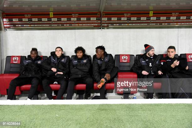 Ignatius Ganago Romain Perraud Vincent Marcel Arnaud Lusamba Christophe Jallet and Yoan Cardinale during the Ligue 1 match between OGC Nice and...