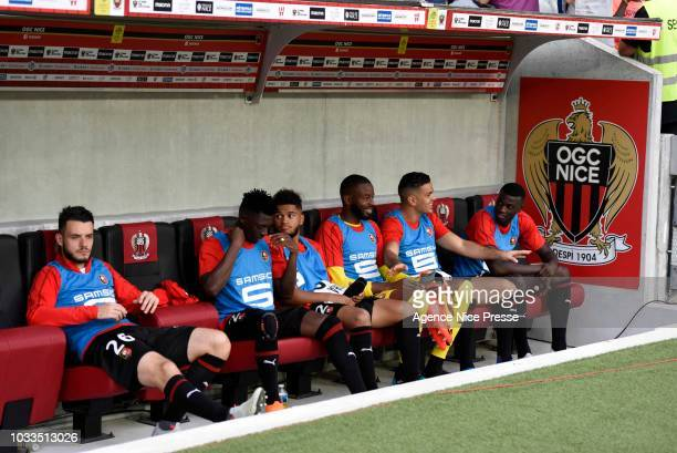 The bench of Rennes with Jeremy Gelin Hamari Traore Denis Will Poha Diallo Abdoulaye Hatem Ben Arfa and Mbaye Niang during the French Ligue 1 match...