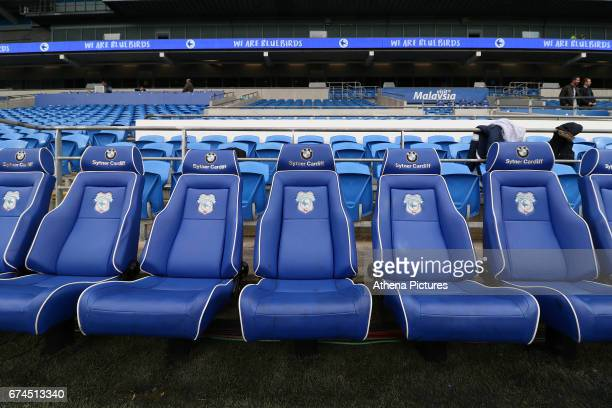 The bench of the Cardiff City dugout prior to kick off of the Sky Bet Championship match between Cardiff City and Newcastle United at the Cardiff...