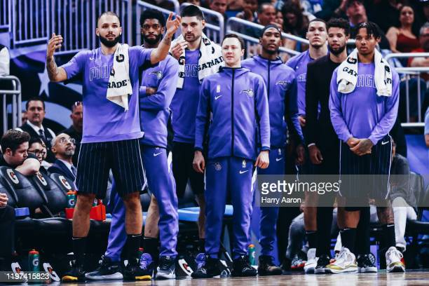 The bench of the Orlando Magic watches their teammates intently against the Miami Heat in the third quarter at Amway Center on January 03 2020 in...