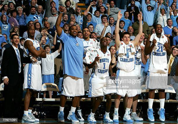 The bench of the University of North Carolina Tar Heels celebrates during their game against the Pennsylvania Quakers on January 3 2006 at the Dean...