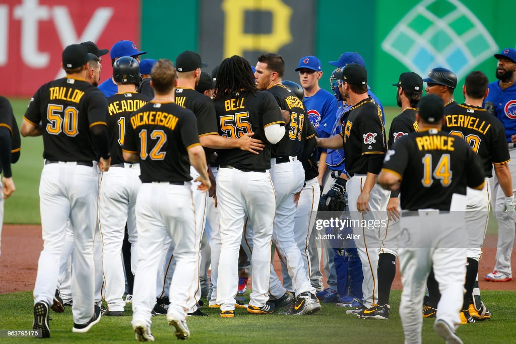 The benches clear in the third inning after Javier Baez #9 of the Chicago Cubs and Joe Musgrove #59 of the Pittsburgh Pirates have words at PNC Park on May 30, 2018 in Pittsburgh, Pennsylvania.