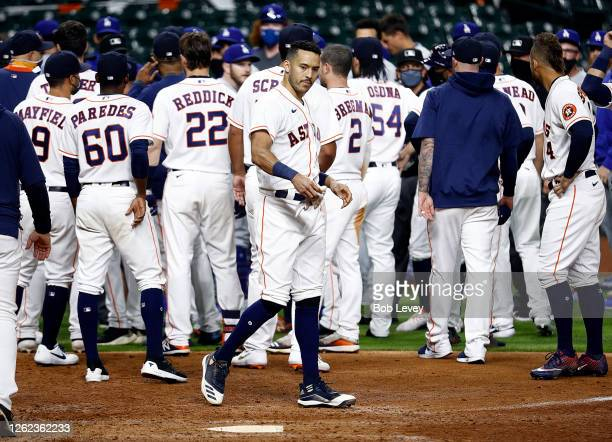 The benches emptied between the Los Angeles Dodgers and Houston Astros in the sixth inning after Joe Kelly of the Los Angeles Dodgers threw several...