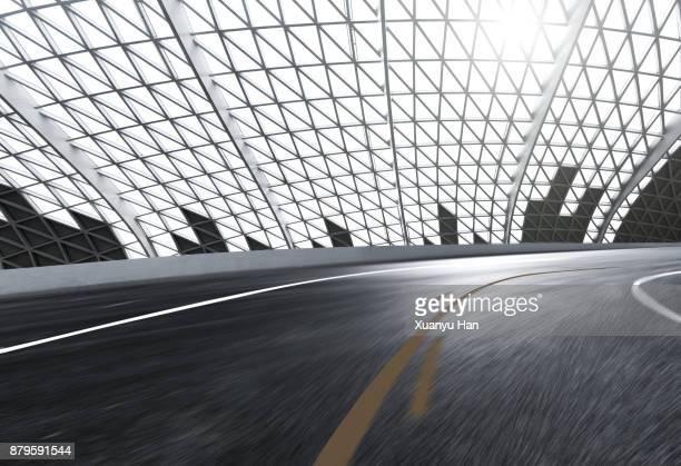 The bendy Motor racing track and silver Metal line wall, Auto advertising background