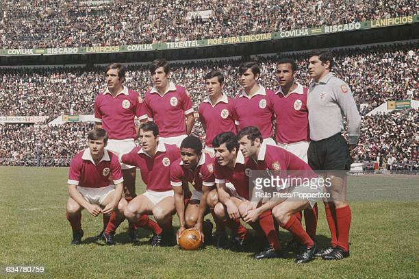 The Benfica football team line up before a game at Estadio da Luz football stadium in Lisbon Portugal on 29th April 1969 Back row from left to right...