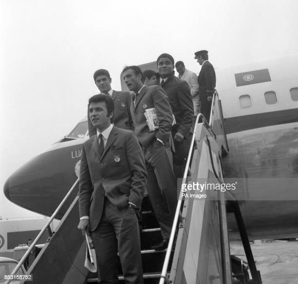 The Benfica players leaving their plane after arriving at Heathrow Airport ahead of their European Cup Final match against Manchester United at...