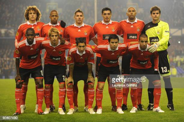 The Benfica players line up for a team photo prior to the UEFA Europa League Group I match between Everton and Benfica at Goodison Park on November...