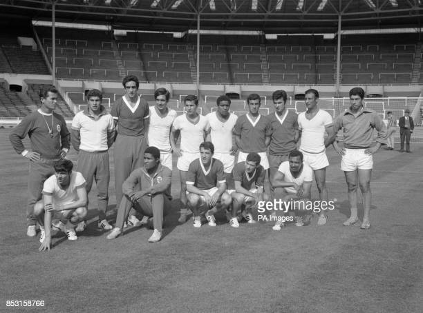 The Benfica squad have a break from training at Wembley Stadium ahead of their European Cup Final against Manchester United Pictured front row 2nd...