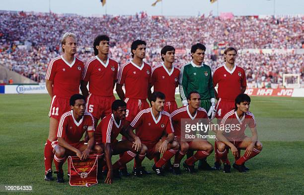 The Benfica team before their European Cup final match against PSV Eindhoven at Neckarstadion Stuttgart Germany 25th May 1988 The match ended in a...