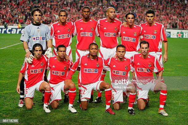 The Benfica team poses for a picture prior to the UEFA Champions League group D match between Benfica and Manchester United at the Stadium of Light...