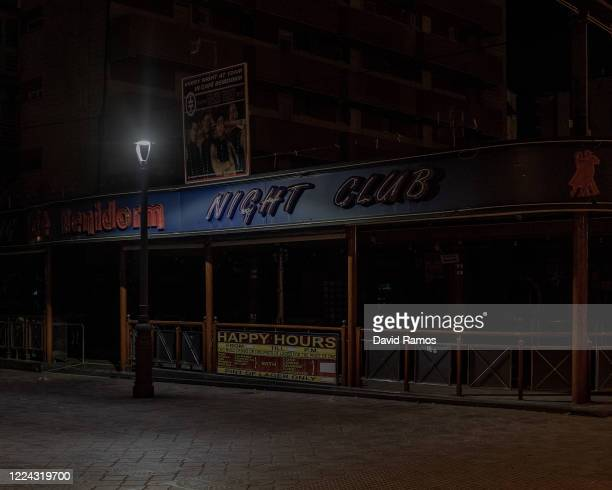 The Benidorm nightclub remains closed at El Rincon de Loix nightlife area on May 11, 2020 in Benidorm, Spain. Pubs, Sport Bars and Nightclubs located...
