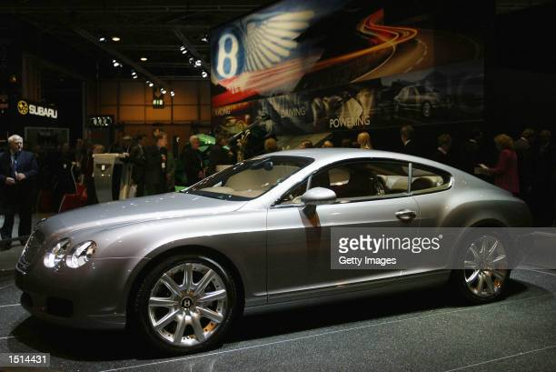 The Bentley Continental GT is on display during the 2002 British International Motorshow at The NEC October 22 2002 in Birmingham United Kingdom