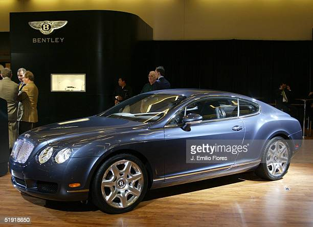 The Bentley Continental GT stands on display at the 2005 Los Angeles Auto Show January 5 2005 in Los Angeles California