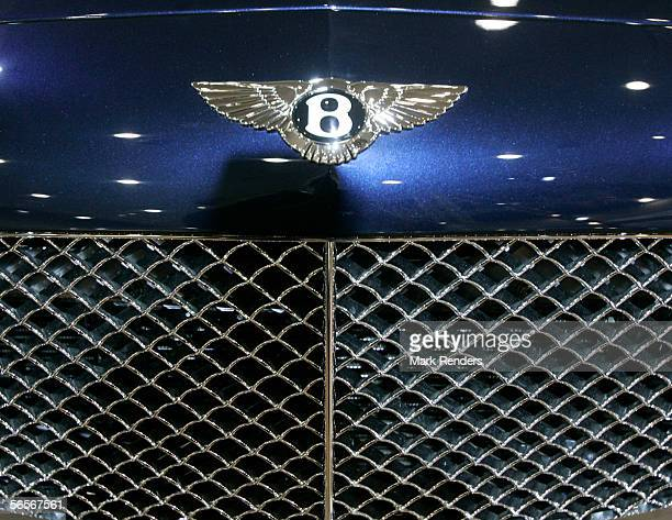 The Bentley corporate logo is seen at the 84th European Motor Show on January 11 2006 in the Belgian capital of Brussels