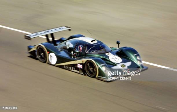 The Bentley EXP Speed 8 speeds down the straight at Silverstone race circuit during a testing session 23 May 2001 Bentley are making a return to...