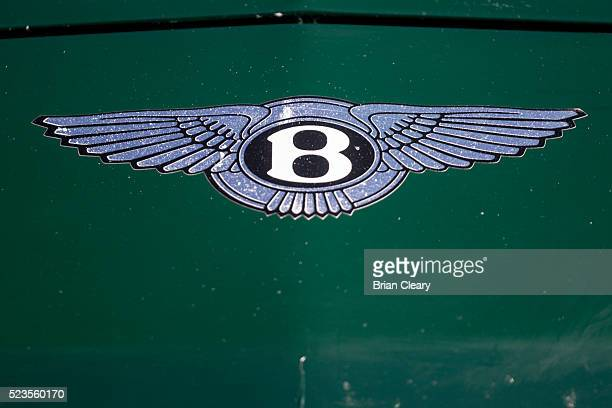 The Bentley logo emblem is displayed on a race car in the paddock before the Pirelli World Challenge GT race at Barber Motorsports Park on April 23...