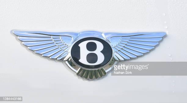 The Bentley logo is seen outside Bentley Motors Ltd headquarters factory on November 07, 2020 in Crewe, Cheshire, England.