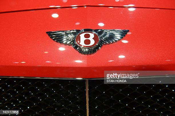 The Bentley logo is viewed during the first day of press previews at the New York International Automobile Show April 4 2012 in New York AFP...