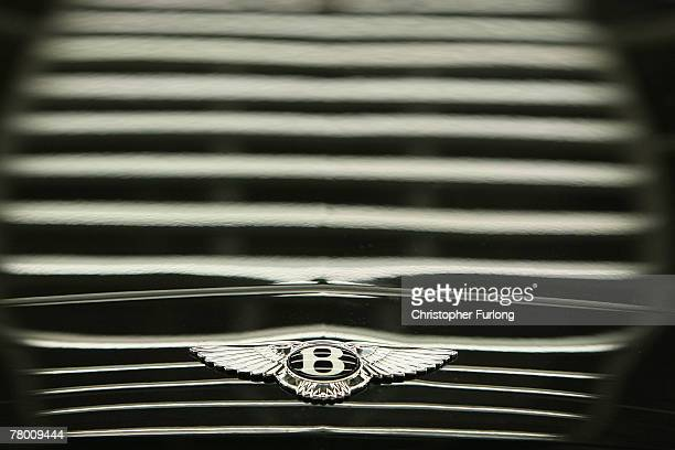 The Bentley Wings adorn the bonnet of a Bentley car in an inspection light tunnel at the Bentley Motors Factory on 19 November, 2007 in Crewe,...