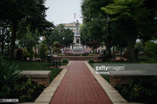 The Bentonville Confederate Monument stands in downtown square in Bentonville, Arkansas, U.S., on Thursday, May 28, 2020. The annual Walmart Inc....