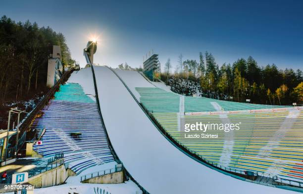 The Bergisel Ski Jump is seen from the stadium on January 27 2018 in Innsbruck Austria