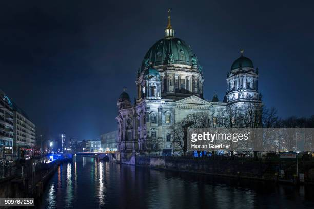 The Berlin Cathedral Church is pictured in the evening on January 23 2018 in Berlin Germany