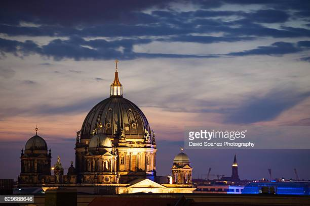 The Berlin Cathedral in Berlin, Germany at night