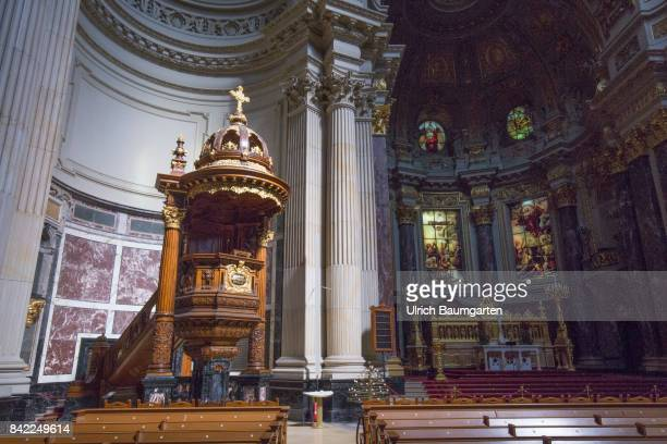 The Berlin Cathedral in the center of the city Interior view with pulpit and altar