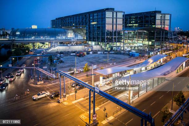 The Berlin Central Station is pictured during blue hour on May 29 2018 in Berlin Germany