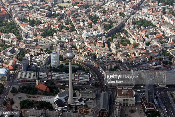 The Berlin Fernsehturm is seen from the air on May 22 2012 in Berlin Germany