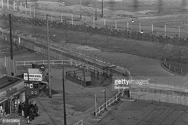 The Berlin wall at Potsdamer Platzshows shows the extent of the Communists' efforts to render the border impassable This photo made November 21 1961...