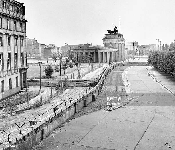 The Berlin Wall near the Brandenberg Gate one year into construction | Location Border of West Berlin and East Berlin East Germany