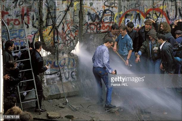 The Berlin Wall opening in Berlin, Germany on November, 1989.