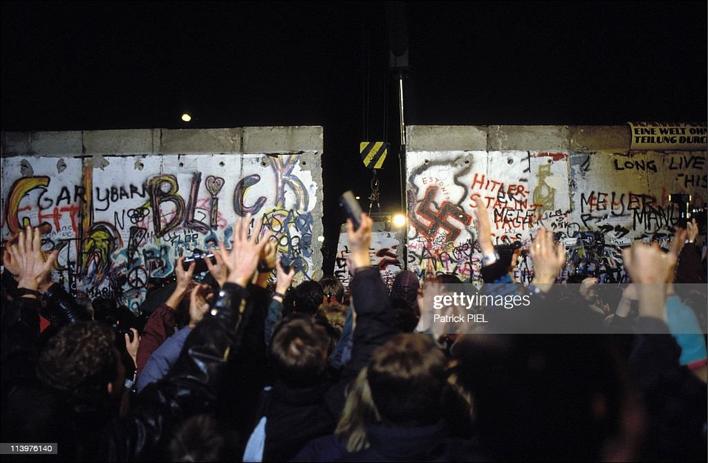 The Berlin Wall opening in Berlin, Germany on November, 1989- : News Photo