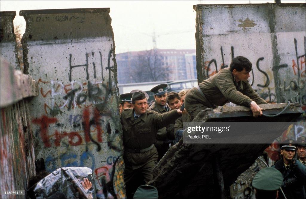 The Berlin Wall opening in Berlin, Germany on November, 1989.