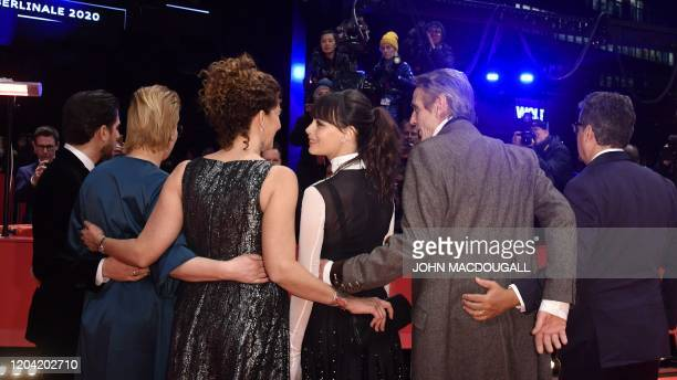 The Berlinale 2020 film festival International Jury Italian actor Luca Marinelli German film producer Bettina Brokemper PalestinianUS film director...