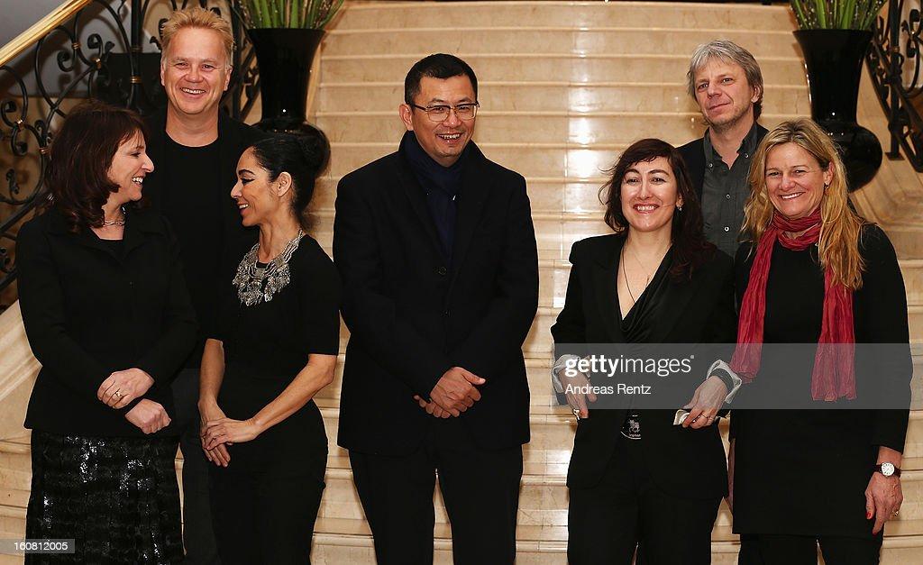 The Berlinale jury Suzanne Bier, Tim Robbins, Shirin Neshat, Wong Kar Wai (Jury-President), Athina Rachel Tsangari, Andreas Dresen and Ellen Kuras attend a photocall for the 63rd Berlinale International Film Festival at Ritz Carlton Hotel on February 6, 2013 in Berlin, Germany.