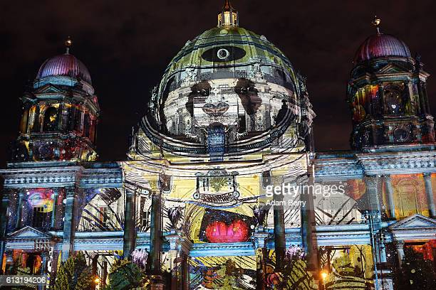 The Berliner Dom is illuminated with projections on October 7, 2016 in Berlin, Germany. Landmarks across the city are illuminated in colors and...