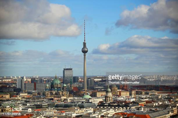 The Berliner Fernsehturm is seen across town from the 69th Berlinale International Film Festival on February 12, 2019 in Berlin, Germany.
